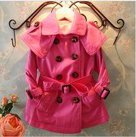 Wholesale New Girl Coats - TA23 2016 NEW children baby girl 3 colour Double-breasted fashion girl princess Belt Windbreaker coat