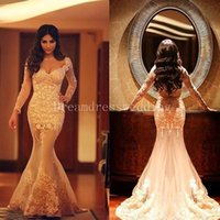 Wholesale Romantic Long Sleeves Wedding - 2016 Romantic Long Sleeves Wedding Dresses V Neck Lace Appliques Occasion Wedding Party Gowns Arabic Custom Made 2015
