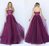 Wholesale Crystal Beaded Strapless Dress - Elegant Tulle Evening Dresses Long Strapless Ruched Prom Gown Backless Purple Wedding Evening Gowns Crystal Pageant Women Dress Beaded