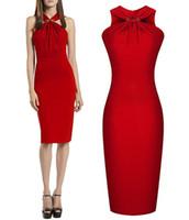 avrupa iş elbisesi toptan satış-Kadın s elbiseler Avrupa ve Amerika Birleşik Devletleri boyun elbise Joker render iş elbiseleri Kadınlar kırmızı uzun bel bodycon elbiseler