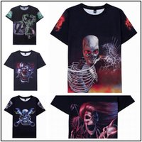 Wholesale Skull Print Shirts Women - 2016 new fashion Skull bone Printing Abstract t-shirt Unisex Women Men Casual 3d t shirt for men women harajuku tee shirt