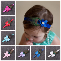 Wholesale peacock hair baby accessories for sale - Group buy 10pcs baby Peacock feathers bow flower Headband for Girl Hair Accessories Infant bows with Rhinestone Hairband Newborn Photo Prop YM6103