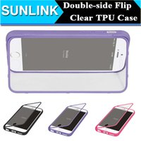 Double Sided Flip Wallet Transparente Transparente Soft TPU gel geléia caso capa para iPhone 5 5s se 6 Plus Samsung Galaxy Nota 4 S6