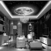 benutzerdefinierte vinyl-kunst großhandel-Raum Galaxy Planeten Fototapete Custom Art Wallpaper 3D Wandbild Decke Schlafzimmer Große Wandkunst Schwarz Weiß Room Decor Kids Home