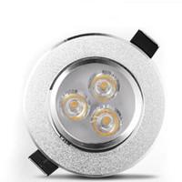 plafón led blanco al por mayor-3W LED Downlight Lámparas de techo LED Punto de inundación Luz AC110-240V Lámparas de techo LED Blanco / Blanco cálido Lámparas de techo interior