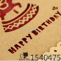 Wholesale Video Greeting Card Wedding - 12 sets lot Diy Vintage Birthday Hollow Kraft Paper Greeting Cards with Envelope Wedding Festival Gifts Decor Love Best Wishes