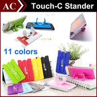 Wholesale Tablet Stander - Universal Portable Finger Touch with Card Slot Holder Stander Sticker Bracket Mounts Stents Silicone For iPhone Samsung Cell phone Tablet