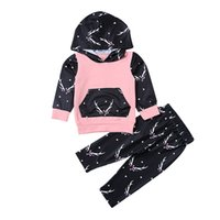 Wholesale Good Quality Kids Hoodie - Christmas Suits 2017 Newborn Baby Kids Boys Girls Deer Cool Hoodie Tops Long Pant Fashion Outfits Baby good quality top Set 0-24M A7892