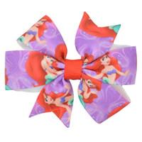 Wholesale diy ribbon bow hair clip - Duwes 3 .1 ''Ariel Princess Girls Hair Bow With Clip Boutique Printed Ribbon Headwear Fashion Hairgrips Diy Wholesale 20 Piece