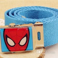 Wholesale Wholesale Spiderman Cartoon Jeans - Wholesale-2015 New Arrival Kids Spiderman Belts Cartoon Character Children Jeans Belt Fashion Boys & Girls Multicolors Belts, HI164