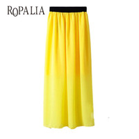 Wholesale Maxi Elastic Waist Chiffon Skirt - Wholesale- Casual Lady Long Maxi Chiffon Skirts Summer Women Pleated Elastic Waist Skirt New