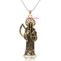 oro santa al por mayor-Chapado en oro de acero inoxidable Santa Muerte Holy Death Grim Reaper collar colgante 1pc