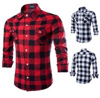 männer rotes plaidhemd xl groihandel-Hemden für Männer Mens Shirt New Mens Slim Fit Casual und Kleid Plaid Check Shirt Mode bequem und atmungsaktiv Shirts Red Black Me