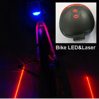 Wholesale Dual Lasers - 7 Flash Mode Dual Laser Bicycle Tail Lighting with 5pcs LED powered by 2xAAA battery, Waterproof Warning Lamp for 20~36mm Frame