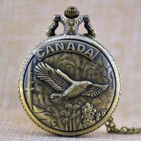 Wholesale Bronze Goose - New Fashion Unisex Bronze Goose of Canada Clamshell Round Dial Quartz Pocket Watch Necklace Chain Watch Gift Regarder P259