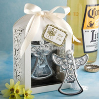 Wholesale Cross Favors Christening - Wholesale Baby shower favor angel  cross bottle opener wedding favors and party supplies christening gifts Free shipping 50pcs wholesale