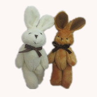 чучела животных букетов оптовых-Розничная H=11 см плюшевые мини кролик галстук-бабочку кролика совместных животных мультфильм букет куклы фаршированные подвески мягкие игрушки