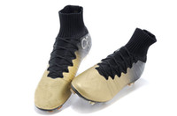Wholesale Soccer Cleats Ronaldo Carbon Fiber - 2015 Newest Cristiano Ronaldo CR7 Ballon d'Or High Cut Soccer Football Boots Shoes Cleats Real Carbon Fiber Bottom Magista Obra Black Gold