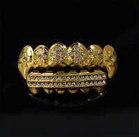 Wholesale grill fitting - 14K Gold Plated Iced Out Grillz with CZ Diamonds Bling Bling Teeth Fangs Grillz Caps Hip Hop Rapper Custom Fit - Top and Bottom Set