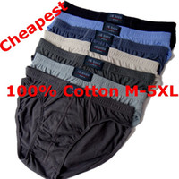 Wholesale 4xl Mens Briefs - Wholesale-Cheapest ! 2015 Men's Breathable Panties lot 5PCS 100% Cotton Mens Briefs M-5XL Plus Size High Quality Men Underwear Panties
