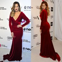 Wholesale Sexy Fabrics - Burgundy V neck Long Sleeve Mermaid Velvet Fabric Evening Dresses High Quality Charming Celebrity Gowns Prom Dress 2014 Custom Made