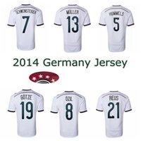 Wholesale black star shirt - 2014 Germany world cup home soccer Jerseys 4 stars 14 15 thai quality SCHWEINSTEIGER OZIL Gotze Reus Muller football shirts