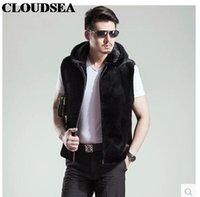 Wholesale Men S Vest Hoodies - Fall-Mink Skin Fur Vest With Hoodie Mens Black Waistcoat Designer Sleeveless Jackets For Men High Quality Luxury Vests Stylish