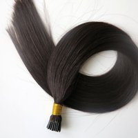 Wholesale Malaysian Off Black - Pre bonded I Tip Brazilian Human Hair extensions 50g 50Strands 20 22inch #1B Off Black Indian Straight hair products