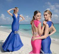 Wholesale Tarik Ediz Black Backless Dress - Sexy Royal Blue Mermaid Evening Dresses Tarik Ediz 2016 Beaded Open Backless Sweep Train Prom Dresses Floor Length Formal Party Gowns