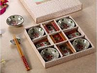 ingrosso piatti di fiori-Creativo 12 pezzi giapponesi piatti di sushi piatti set regalo con bacchette di bambù e supporto dipinto a mano grande motivo floreale rosso