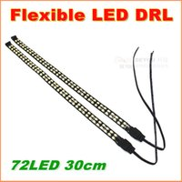 Wholesale Light Bar Daytime - 2pcs High quality 30cm 72LED Flexible Strip LED Daytime Running Light Waterproof IP68 DRL Car Decorative strip Light Bar lamp