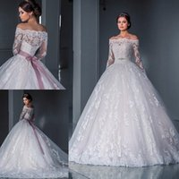 Wholesale Empire Sleeve Ball Gown - Luxurious Ball Gown Princess Lace Wedding Dresses 2016 New Off the Shoulder Long Sleeves Chapel Train Tulle Appliques Beads Bridal Gowns