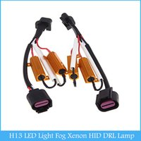 Wholesale Hid Light Xenon Adapter - 2pcs H13 LED Light Fog Xenon HID DRL Lamp LED HID Decoder Resistance Load Resistor Canbus Wire Harness Adapter 50w 6ohm C421