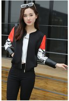 Wholesale Han Baseball Jacket - Wholesale- New arrival women autumn 2017 the runway designer han edition baseball uniform space cotton cardigan bomber jacket