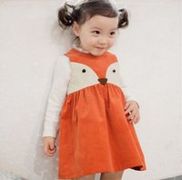 Wholesale Dot Chiffon Dresses - Girl INS Fashion Princess orange fox dot Dress 2016 new Children Cartoon Print sleeveless Dress Children Clothing B001