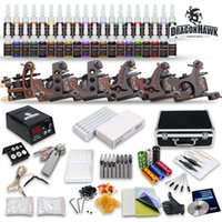 Wholesale Tattoo Ink Equipment Supplies - Complete Tattoo Kits 6 Guns Machines 54 Ink Sets Equipment Needle Power Supply disposable grips needles pedal clip cord D187GD-10