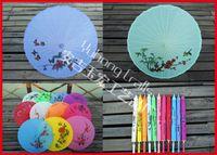 Wholesale Traditional Folk Crafts - 5pcs lot Free shipping Hand-painted Chinese parasol Folk Art traditional Umbrella Wooden Handle Bamboo Frame Silk Umbrella