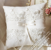 Wholesale Cheap Wedding Ring Pillows - 2015 Wedding Ring Pillows put the pillow in the basket wedding supplies Flower girl children basket Cheap Lace bridal and groom rings pillow