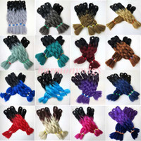 Wholesale ombre xpression braiding hair for sale - Kanekalon Synthetic Braiding Hair inch g Ombre Two Tone Color Xpression Crochet braids twist synthetic Hair Extensions