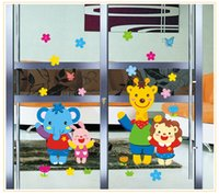 Wholesale Transparent Wall Stickers Children - 2017 Hot Selling Picotee PVC Transparent Film Animal Home Child Real Wall Stickers Glass Window Stickers