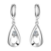925 ayar gümüş kulp kulp toptan satış-925 Ayar Gümüş Küpe Kadınlar için Kübik Zirkonya Gümüş Saplama Küpe Moda Küpe E614