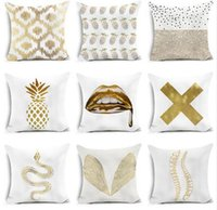 Wholesale Pineapple Patterns - travel sleeping polyester creative golden wing pineapple lips pattern modern bedroom cushion cover pillow case for sofa