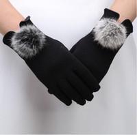 Wholesale Genuine Rabbit Fur Gloves - women's winter gloves 2017 genuine fur autumn elegant cotton glove real rabbit fur pompom touch screen driver's gloves mittens