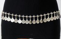 metallkette blumen gürtel großhandel-Bohemian Boho türkische Zigeuner Silber Metall Dangle Hippie Blume Münzen Shimmy Gürtel Tanz Körper Kette Bauch Schmuck