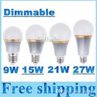Wholesale Dimmable 15w Globe - Dimmable 9W 15W 21W 27W Led Lights Bulbs Lamp E27 E26 Cree Led Globe Lamp Warm Natrual Cold White AC110-240V