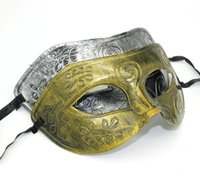 Wholesale Roman Costumes For Women - Men retro masks Greco-Roman Gladiator masquerade masks Vintage Golden Silver Mask Carnival Mask Halloween Costume Party Mask