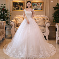 Wholesale thin simple wedding dresses - 2017New The Elegant V-Neck Lace Embroidery Flowers With Sequins Wedding dress High Waist Was Thin Sweep Train Wedding Gown X