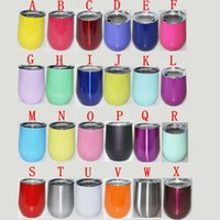 Wholesale 24 Oz Mugs - 24 colors 9 oz Stemless wine Cups Stemless Beer Wine Glass Egg Shaped Cup 18 colors Stainless steel Powder Coated Wine mugs with Lid