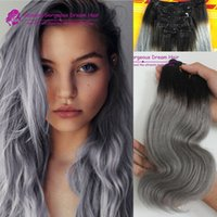 Wholesale Boby Wave Brazilian Hair - Incomparable Grey Clip in Chinese human hair #1b grey hair extensions boby wave grey hair weave ombre grey human hair extensions