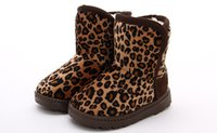Wholesale winter children fashion leopard snow boots warm girl boys falt with boots kids cute anti skidding baby girl shoes
